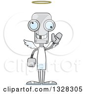 Clipart Of A Cartoon Skinny Robot Angel With A Missing Tooth Waving Royalty Free Vector Illustration