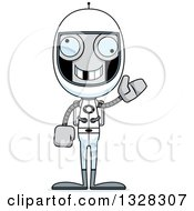 Clipart Of A Cartoon Skinny Waving Robot Astronaut With A Missing Tooth Royalty Free Vector Illustration
