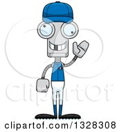 Poster, Art Print Of Cartoon Skinny Waving Robot Baseball Player With A Missing Tooth
