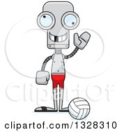 Clipart Of A Cartoon Skinny Waving Beach Volleyball Robot With A Missing Tooth Royalty Free Vector Illustration