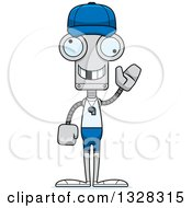 Clipart Of A Cartoon Skinny Waving Robot Sports Coach With A Missing Tooth Royalty Free Vector Illustration