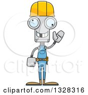 Cartoon Skinny Waving Robot Construction Worker With A Missing Tooth