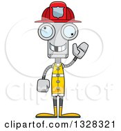 Clipart Of A Cartoon Skinny Waving Robot Firefighter With A Missing Tooth Royalty Free Vector Illustration by Cory Thoman