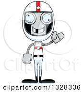 Clipart Of A Cartoon Skinny Waving Race Car Driver Robot With A Missing Tooth Royalty Free Vector Illustration