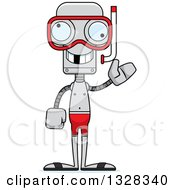 Clipart Of A Cartoon Skinny Snorkel Waving Robot With A Missing Tooth Royalty Free Vector Illustration by Cory Thoman