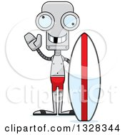 Clipart Of A Cartoon Skinny Waving Surfer Robot With A Missing Tooth Royalty Free Vector Illustration