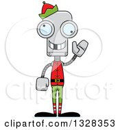 Clipart Of A Cartoon Skinny Waving Robot Christmas Elf With A Missing Tooth Royalty Free Vector Illustration