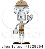 Clipart Of A Cartoon Skinny Waving Robot Zookeeper With A Missing Tooth Royalty Free Vector Illustration