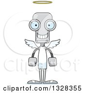 Clipart Of A Cartoon Skinny Happy Angel Robot Royalty Free Vector Illustration