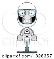 Clipart Of A Cartoon Skinny Happy Robot Astronaut Royalty Free Vector Illustration