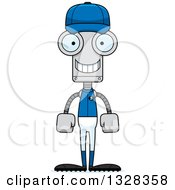 Poster, Art Print Of Cartoon Skinny Happy Robot Baseball Player