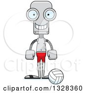 Clipart Of A Cartoon Skinny Happy Robot Beach Volleyball Player Royalty Free Vector Illustration