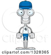 Clipart Of A Cartoon Skinny Happy Robot Sports Coach Royalty Free Vector Illustration