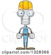 Cartoon Skinny Happy Robot Construction Worker