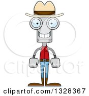 Clipart Of A Cartoon Skinny Happy Robot Cowboy Royalty Free Vector Illustration