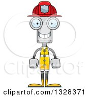 Clipart Of A Cartoon Skinny Happy Robot Firefighter Royalty Free Vector Illustration by Cory Thoman