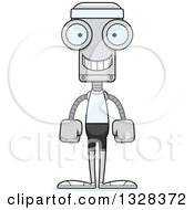 Clipart Of A Cartoon Skinny Happy Fit Robot Royalty Free Vector Illustration