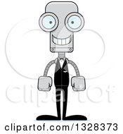 Clipart Of A Cartoon Skinny Happy Robot Groom Royalty Free Vector Illustration