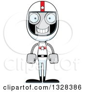 Clipart Of A Cartoon Skinny Happy Race Car Driver Robot Royalty Free Vector Illustration