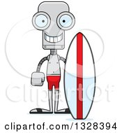 Clipart Of A Cartoon Skinny Happy Robot Surfer Royalty Free Vector Illustration