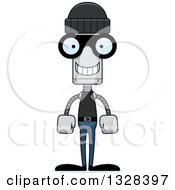 Clipart Of A Cartoon Skinny Happy Robber Robot Royalty Free Vector Illustration