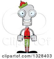 Clipart Of A Cartoon Skinny Happy Christmas Elf Robot Royalty Free Vector Illustration