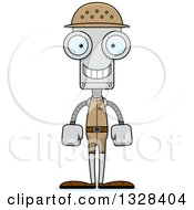 Clipart Of A Cartoon Skinny Happy Robot Zookeeper Royalty Free Vector Illustration