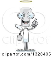 Clipart Of A Cartoon Skinny Robot Angel With An Idea Royalty Free Vector Illustration