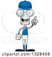 Poster, Art Print Of Cartoon Skinny Robot Baseball Player With An Idea