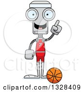 Clipart Of A Cartoon Skinny Robot Basketball Player With An Idea Royalty Free Vector Illustration by Cory Thoman