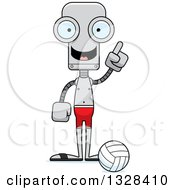 Clipart Of A Cartoon Skinny Robot Beach Volleyball Player With An Idea Royalty Free Vector Illustration