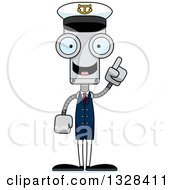 Clipart Of A Cartoon Skinny Robot Boat Captain With An Idea Royalty Free Vector Illustration by Cory Thoman
