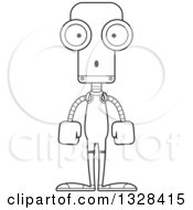 Lineart Clipart Of A Cartoon Black And White Skinny Surprised Robot Wrestler Royalty Free Outline Vector Illustration