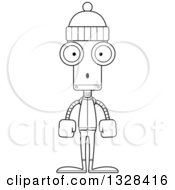 Lineart Clipart Of A Cartoon Black And White Skinny Surprised Winter Robot Royalty Free Outline Vector Illustration