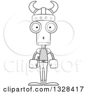 Lineart Clipart Of A Cartoon Black And White Skinny Surprised Viking Robot Royalty Free Outline Vector Illustration