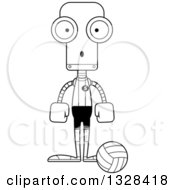 Lineart Clipart Of A Cartoon Black And White Skinny Surprised Robot Volleyball Player Royalty Free Outline Vector Illustration