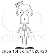 Lineart Clipart Of A Cartoon Black And White Skinny Surprised Robot Professor Royalty Free Outline Vector Illustration