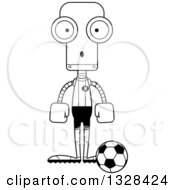 Lineart Clipart Of A Cartoon Black And White Skinny Surprised Robot Soccer Player Royalty Free Outline Vector Illustration