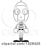 Lineart Clipart Of A Cartoon Black And White Skinny Surprised Futuristic Space Robot Royalty Free Outline Vector Illustration