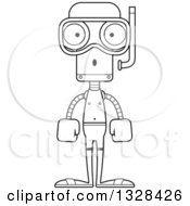 Lineart Clipart Of A Cartoon Black And White Skinny Surprised Robot In Snorkel Gear Royalty Free Outline Vector Illustration