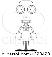 Lineart Clipart Of A Cartoon Black And White Skinny Surprised Robot Scientist Royalty Free Outline Vector Illustration