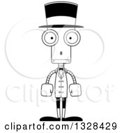 Lineart Clipart Of A Cartoon Black And White Skinny Surprised Robot Circus Ringmaster Royalty Free Outline Vector Illustration