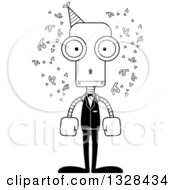 Lineart Clipart Of A Cartoon Black And White Skinny Surprised Party Robot Royalty Free Outline Vector Illustration