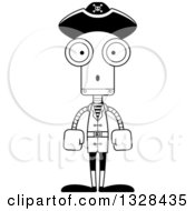 Lineart Clipart Of A Cartoon Black And White Skinny Surprised Pirate Robot Royalty Free Outline Vector Illustration