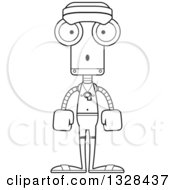 Lineart Clipart Of A Cartoon Black And White Skinny Surprised Robot Lifeguard Royalty Free Outline Vector Illustration