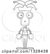 Lineart Clipart Of A Cartoon Black And White Skinny Surprised Robot Jester Royalty Free Outline Vector Illustration