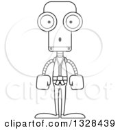Lineart Clipart Of A Cartoon Black And White Skinny Surprised Karate Robot Royalty Free Outline Vector Illustration