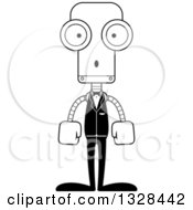 Lineart Clipart Of A Cartoon Black And White Skinny Surprised Robot Groom Royalty Free Outline Vector Illustration