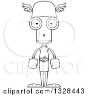 Lineart Clipart Of A Cartoon Black And White Skinny Surprised Robot Hermes Royalty Free Outline Vector Illustration