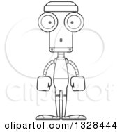 Lineart Clipart Of A Cartoon Black And White Skinny Surprised Fitness Robot Royalty Free Outline Vector Illustration